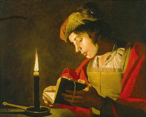 http://commons.wikimedia.org/wiki/File:Matthias_stom_young_man_reading_by_candlelight.jpg